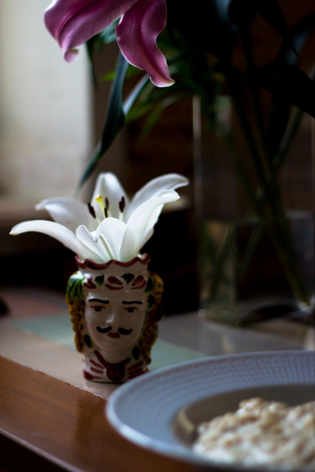 sicilian ceramic head vase moustache